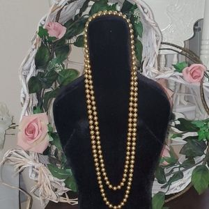 Vintage Kissaka Gold Tone Long Pearl Necklace
